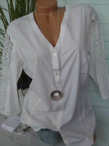 MIA MODA Tunika Bluse Shirt Gr 929 Big Size NEU 44-62 Creme mit Spitze