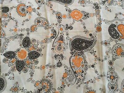 "Mid Century upholstery fabric Mauve /& Beige Floral Vine Stripes 56.5"" wide Vtg"