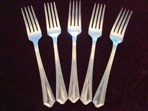 SET 5 DINNER FORKS! Vintage VICTOR INTERNATIONAL silverplate: CORTLAND pattern!