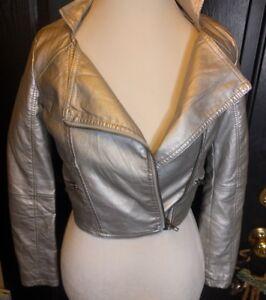 ECKO-UNLTD-Silver-Faux-Leather-Zip-Moto-Jacket-XS-Xtra-Small-Retro-GUC