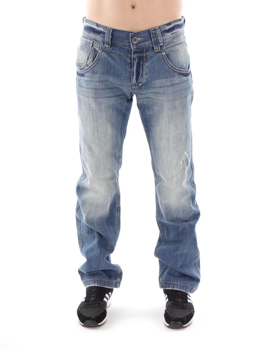 Mogul Jeans Hose Denim Quirin Denim blue Used Ziernähte Taschen Leder