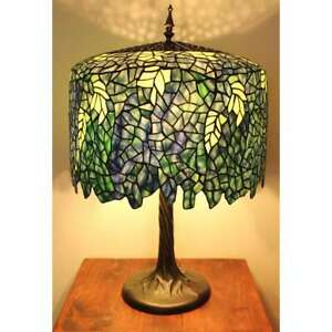 Blue Wisteria Tiffany Style Table Lamp W Tree Trunk Base Handcrafted