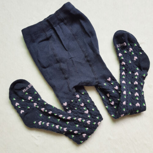 so soft New Baby Girls Toddler Navy Blue Floral Cotton Knit Tights . 1-2 years