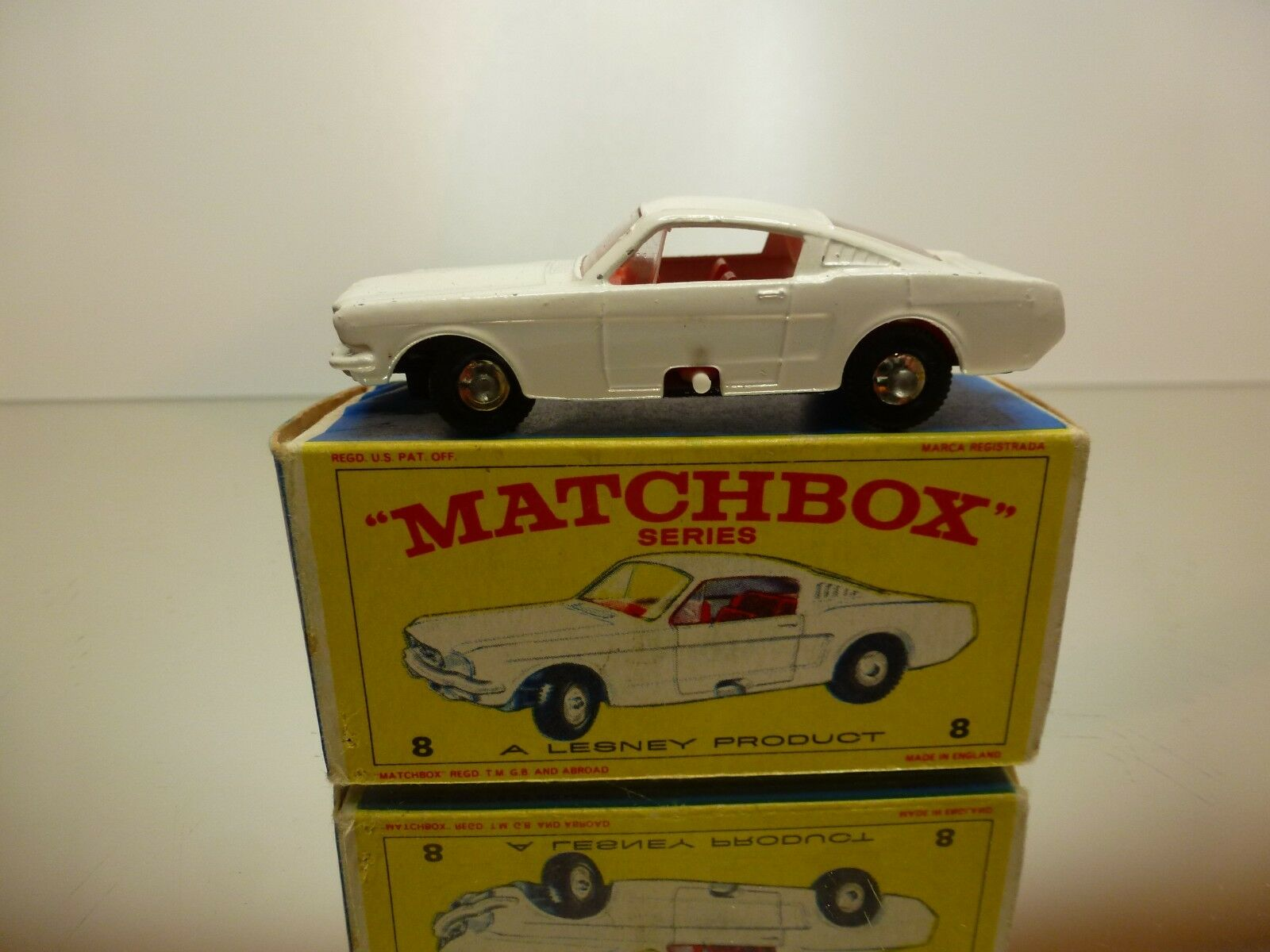 MATCHBOX LESNEY 8 FORD MUSTANG  - WHITE - VERY GOOD IN BOX