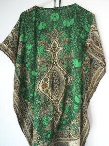 PETITE-GREEN-One-Size-THIN-KAFTAN-Beach-Coverup-Emerald-DRESS-lightweight