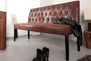 Sitzbank Kuchenbank Esszimmer Chester 165cm Antik Braun Mikrofaser