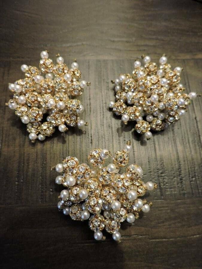 Stunning Vintage Crystal Rhinestone Faux Pearl Go… - image 1