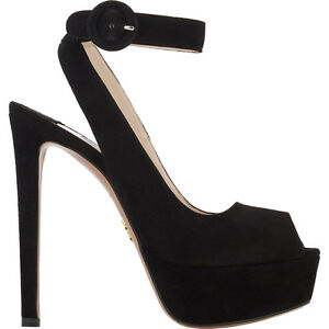 7813b036c35 NEW  925 Prada Platform Suede Peep Toe Heel Pump Ankle Strap Sandal ...