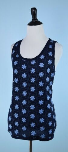 Knit Blue Flower Crew Size J M Lace Casual Sleeveless Overlay 188 Top qw8ZgUSO