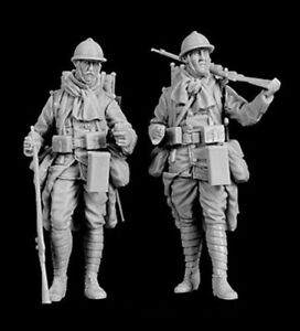1-35-Resin-WWI-French-Soldiers-Fully-Armed-unpainted-unassembled-BL964