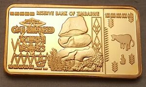 100 Trillion Dollar Zimbabwe 24kt Gold Layered Bar Bank Note Money Africa Unsual Excellente Qualité