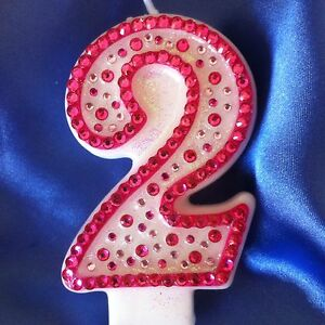 Image Is Loading Birthday Candle Number Two 2 Diamante Topper Pink