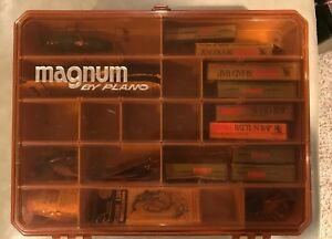 Vintage-Magnum-By-Plano-1146-Tackle-Box-With-Vintage-Tackle-Rapala-Frogs-Spoons