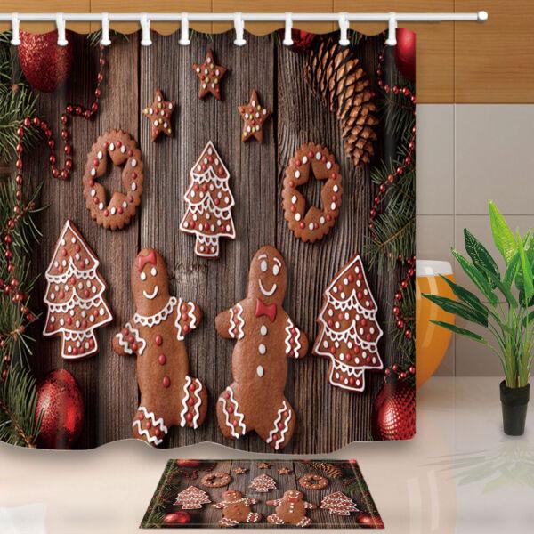 Christmas Gingerbread Man And Wood Board Shower Curtain Bathroom