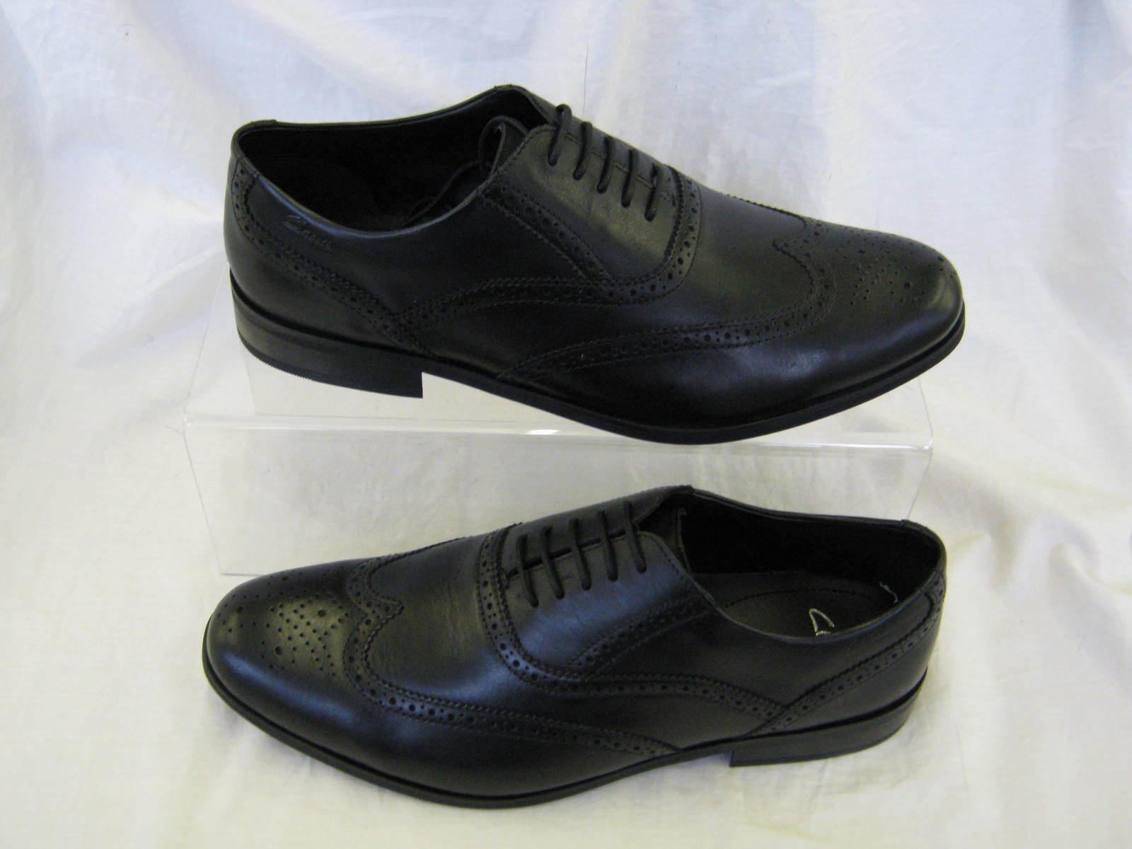 Herren Clarks schwarzes Leder Spitze bis Schuh BRINT Brogues