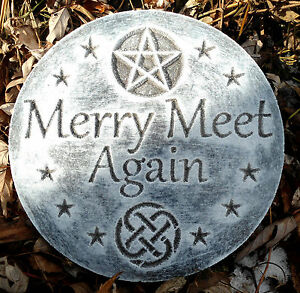 Plastic-034-Merry-meet-again-034-plaque-mold-garden-plaque-stepping-stone