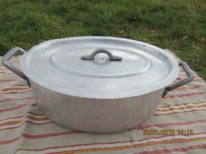Ancienne-Cocotte-en-Fonte-d-039-aluminium-avec-son-egouttoir-Vintage-Annees-50-60