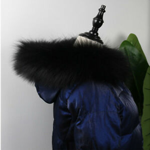 Top-Quality-Real-Raccoon-Fur-Collar-Hood-Trimming-Scarf-Black-75-14cm-30X6-034-US