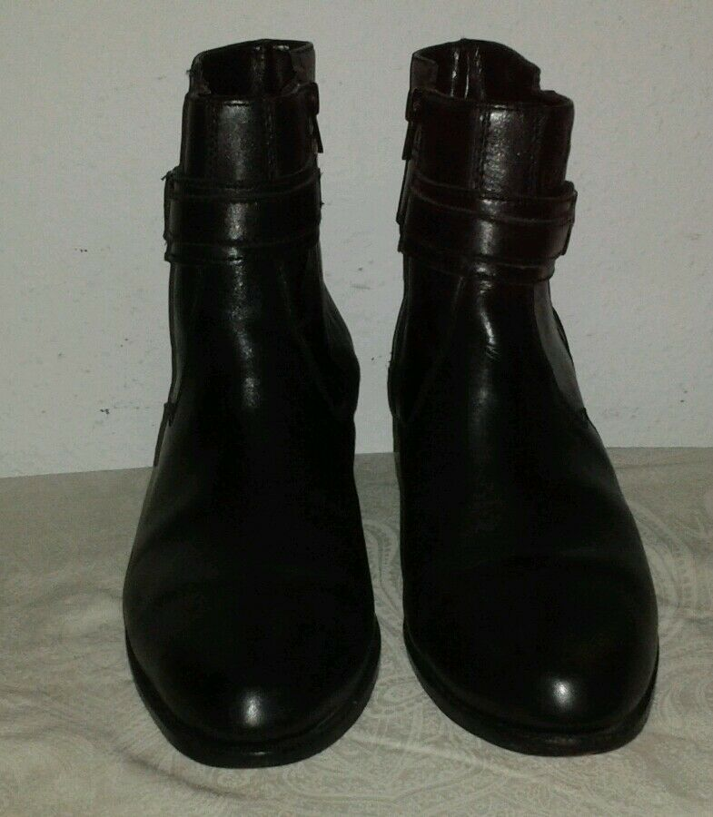 GIOVANNI MEN'S BLACK ALL LEATHER ZIPPERED ANKLE BOOTS SIZE 10 D Nice