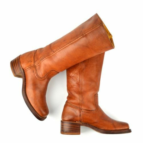 FRYE Campus Boots 6.5 Cognac Tan Saddle Leather Stacked Block Heel EUC