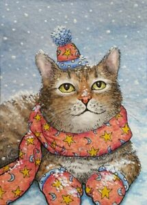 ACEO-art-print-Cat-629-winter-snow-from-watercolor-art-painting-by-L-Dumas