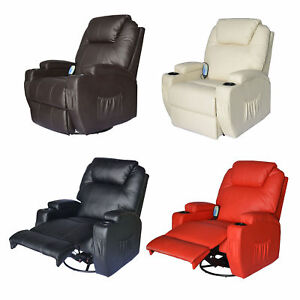 Image Is Loading Massage Recliner Sofa Leather Vibrating Heated Chair Lounge