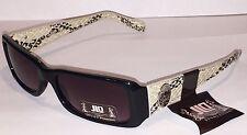 New JLO by Jennifer Lopez Womans Sunglasses Black Frames, Snakeskin Arms + Pouch