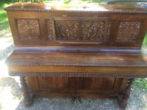 1-Large-Antique-French-Carved-Victorian-Metzler-Rosewood-Upright-Piano