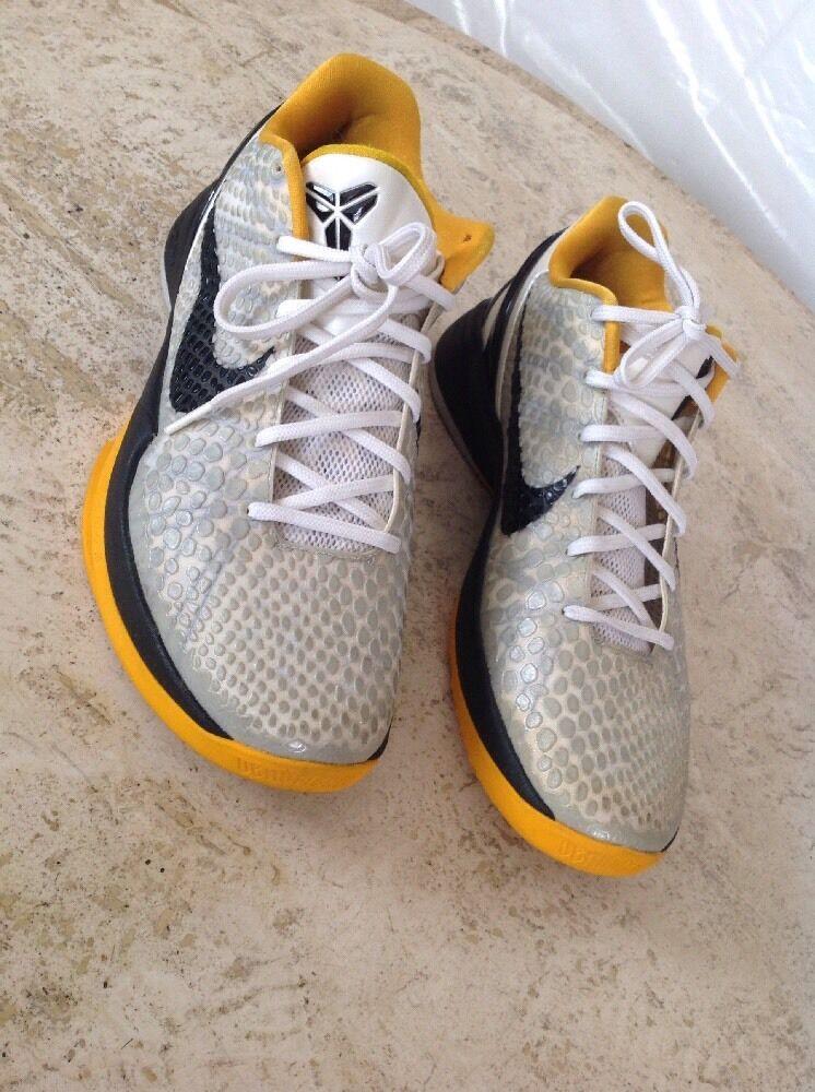 Nike zoom kobe 6 vi bianco del sol d'oro nero 429659-103 playoff steelers