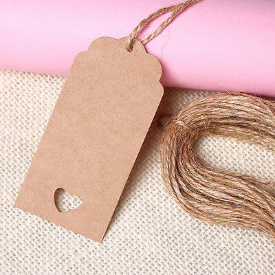 50pcs New Kraft Paper Hang Tags Wedding Party Favor Punch Label Price Gift Cards
