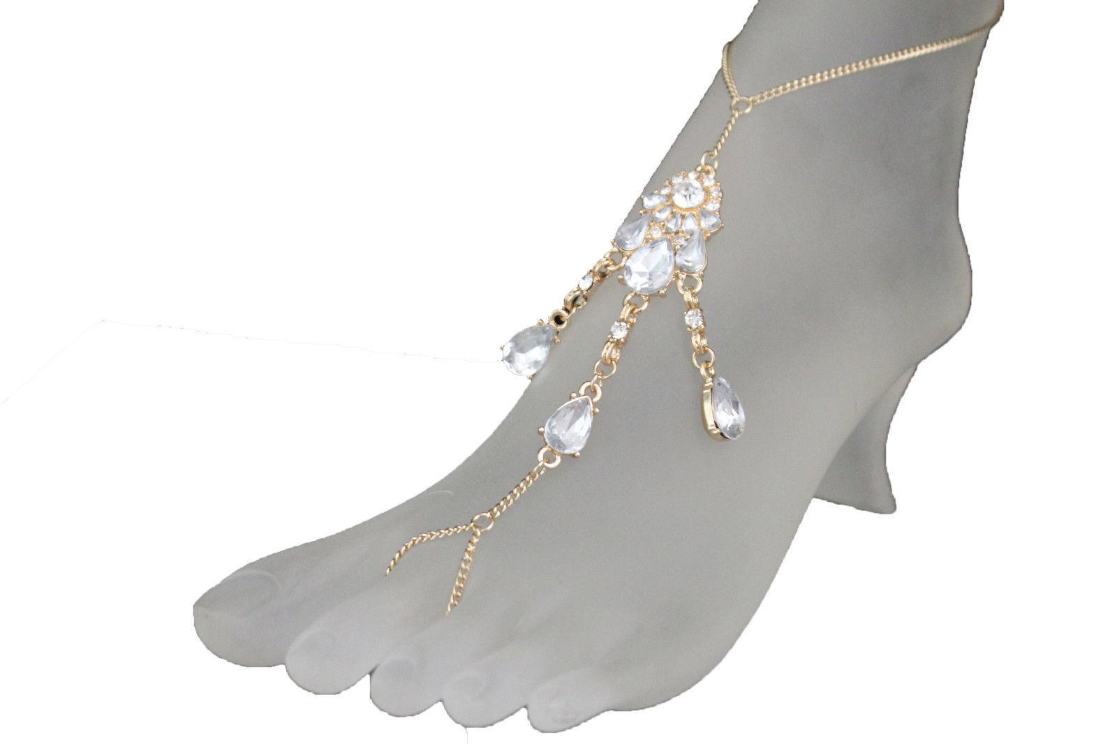 Women Foot Bracelet Metal Chains Gold Anklet Ethnic Bling Charm Silver Stones