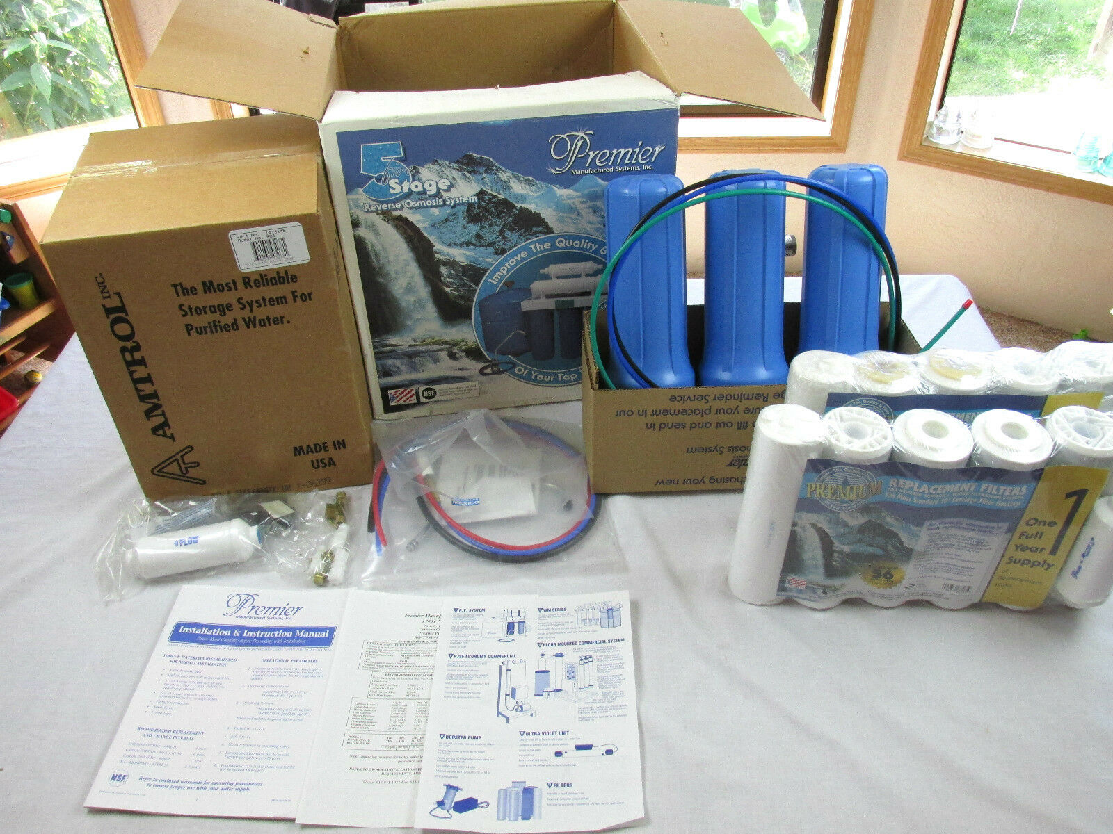 Five 5 Stage Reverse Osmosis System by Premier Manufacturouge Systems Filters NOS