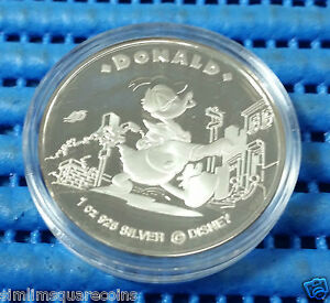 1996-Singapore-Mint-Disney-Character-Donald-Duck-amp-Daisy-Silver-Proof-Medallion