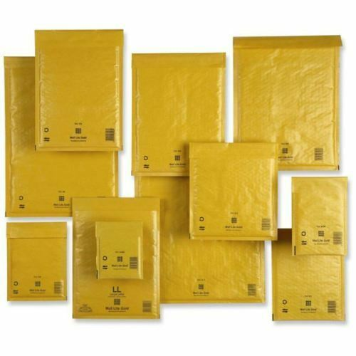 VARIOUS SIZES MAIL LITE GOLD BUBBLE-LINED POSTAL ENVELOPES