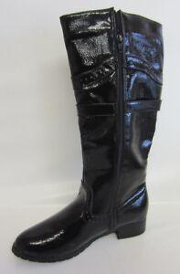 new arrival 060b1 68552 Details zu Spot On F5r765 Damen Schwarz Lack Stiefel mit Quaste (R5a)