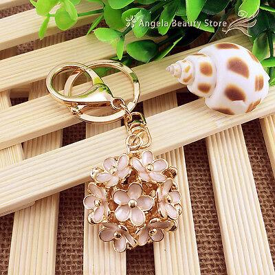 Fashion Creative Flower Crystal Keychain Keyring Handbag Accessory Charm Pendant