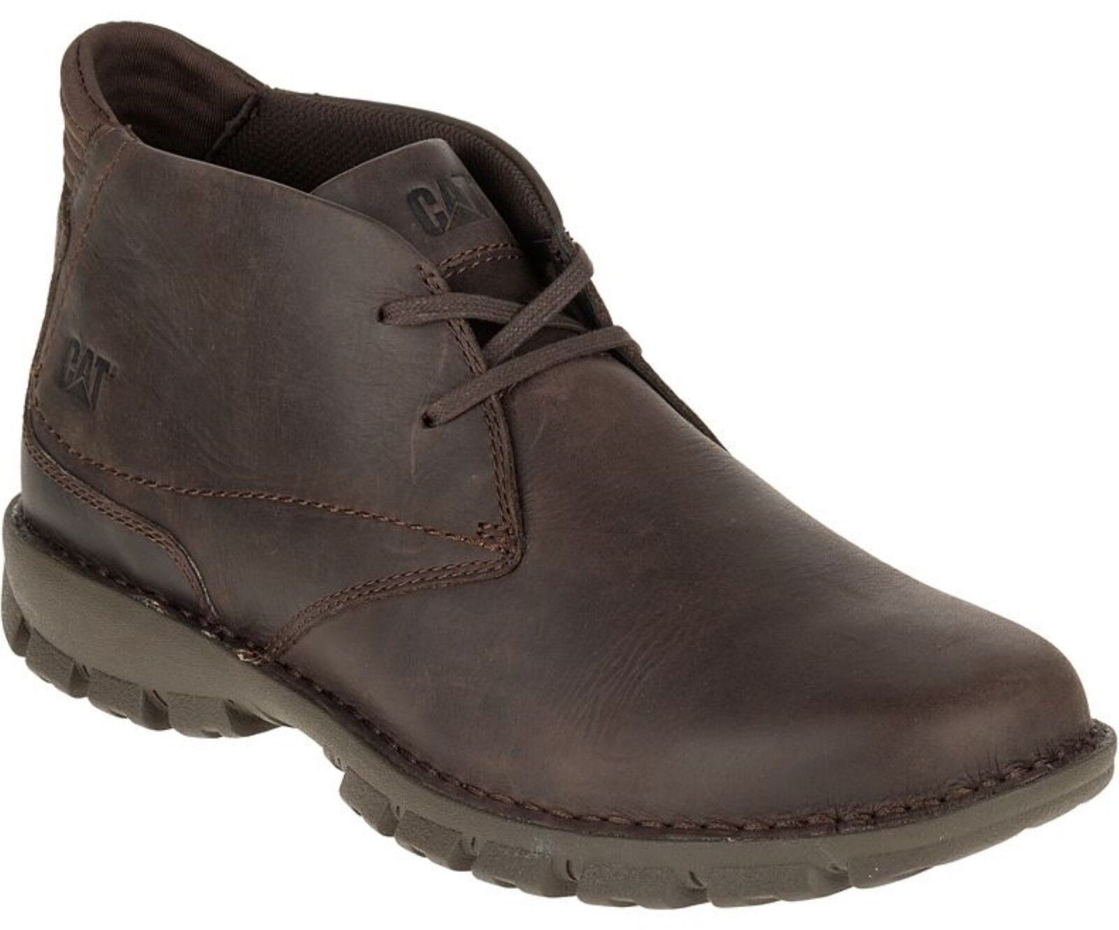 Caterpillar Mitch Mens Chocolate Brown Full Grain Leather Lace Up Chukka Boots