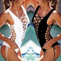 Sexy Women One Piece Monokini Push Up Bra Bikini Side-Tie Swimsuit Swimwear UD