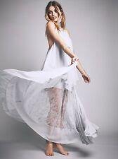 NEW $563 Free People Pretty Lark Layered Lace Maxi Dress Size XS Blue