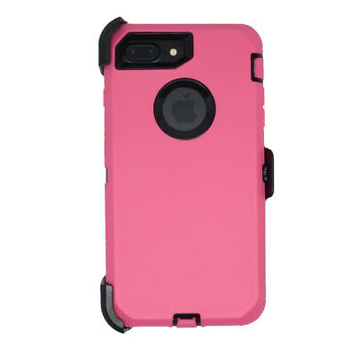 finest selection 54fcd 77b66 For iPhone 8 Plus Defender Case Cover w/ Belt Clip fits Otterbox Pink Black  | eBay