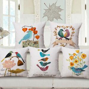 Home-Cotton-Linen-Lovers-Birds-Car-Bed-Sofa-Pillow-Cases-Waist-Cushion-Cover-18-034