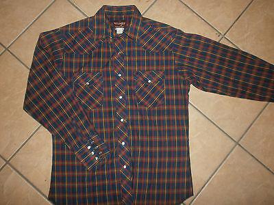 Volitivo Vintage Wrangler Perla A Scatto Camicia Stile Western Rosso Blu Giallo Plaid