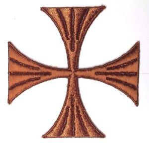 Vintage-Cruz-Bordado-para-Coser-Blanco-Marron-un-4-034-Maltes-Emblema-Parche-2PC