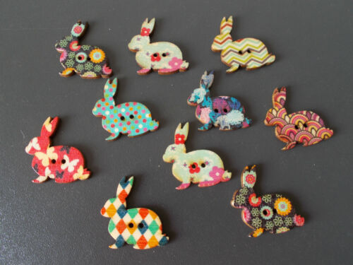 10 X RABBIT SHAPED WOOD MIXED COLOURS BUTTONS-SCRAP BOOKING SEWING