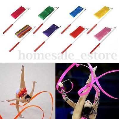 4M Dance Ribbon Gym Rhythmic Art Gymnastic Ballet Streamer Twirling Rod 8 Color