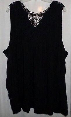 Torrid 6 Sleeveless Plus Sz Blouse Tank Top 6x 32/34 Black Crochet Knit