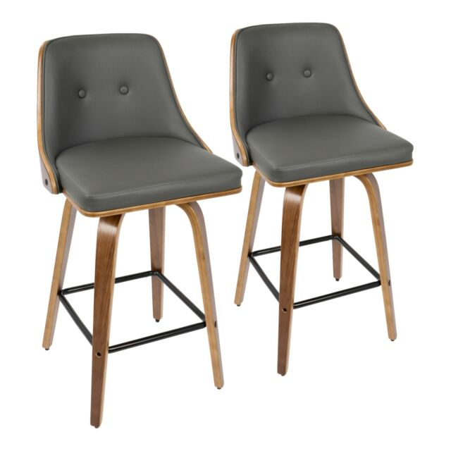Strange Gianna 26 Counter Stools In Walnut Wood Dark Grey Faux Leather Set Of 2 Uwap Interior Chair Design Uwaporg