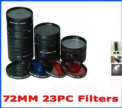 72mm filter set 23pc Lens Kit for Minolta Sony Olympus Canon Nikon Panasonic Cam