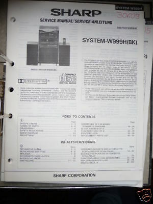 Die Neueste Mode Service-manual Sharp System-w999h Musikanlage