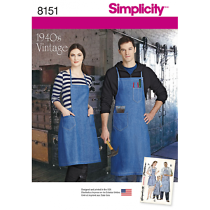 Simplicity 1940s Vintage Aprons for all the Family Sewing Pattern 8151